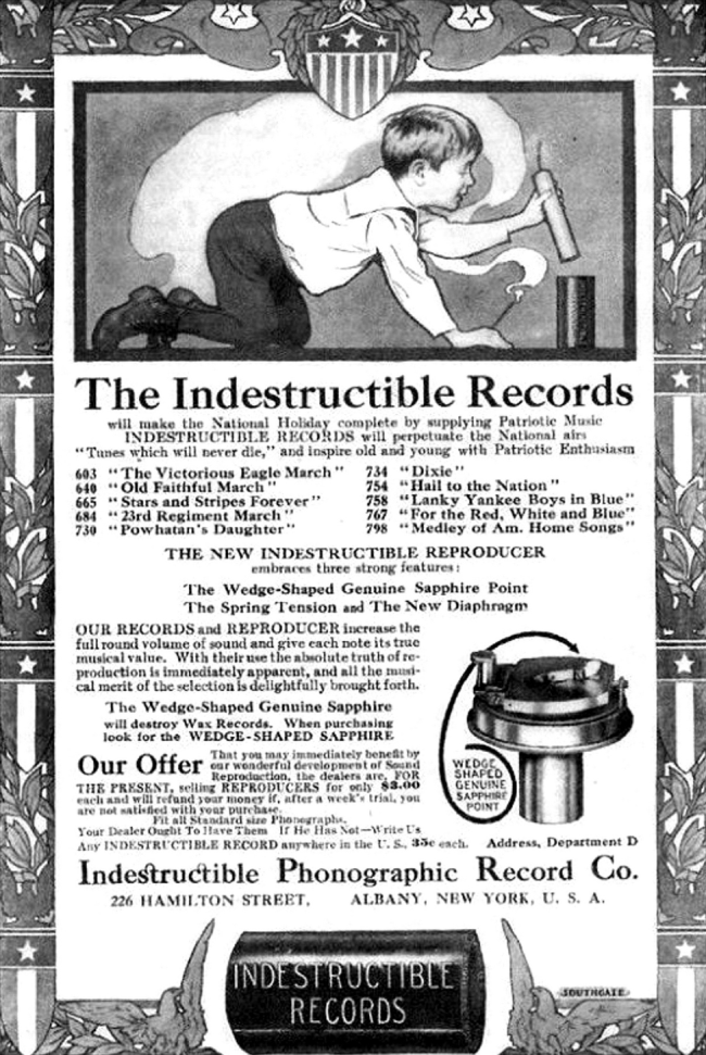 vintage advertisements for Indestructible Phonographic Records