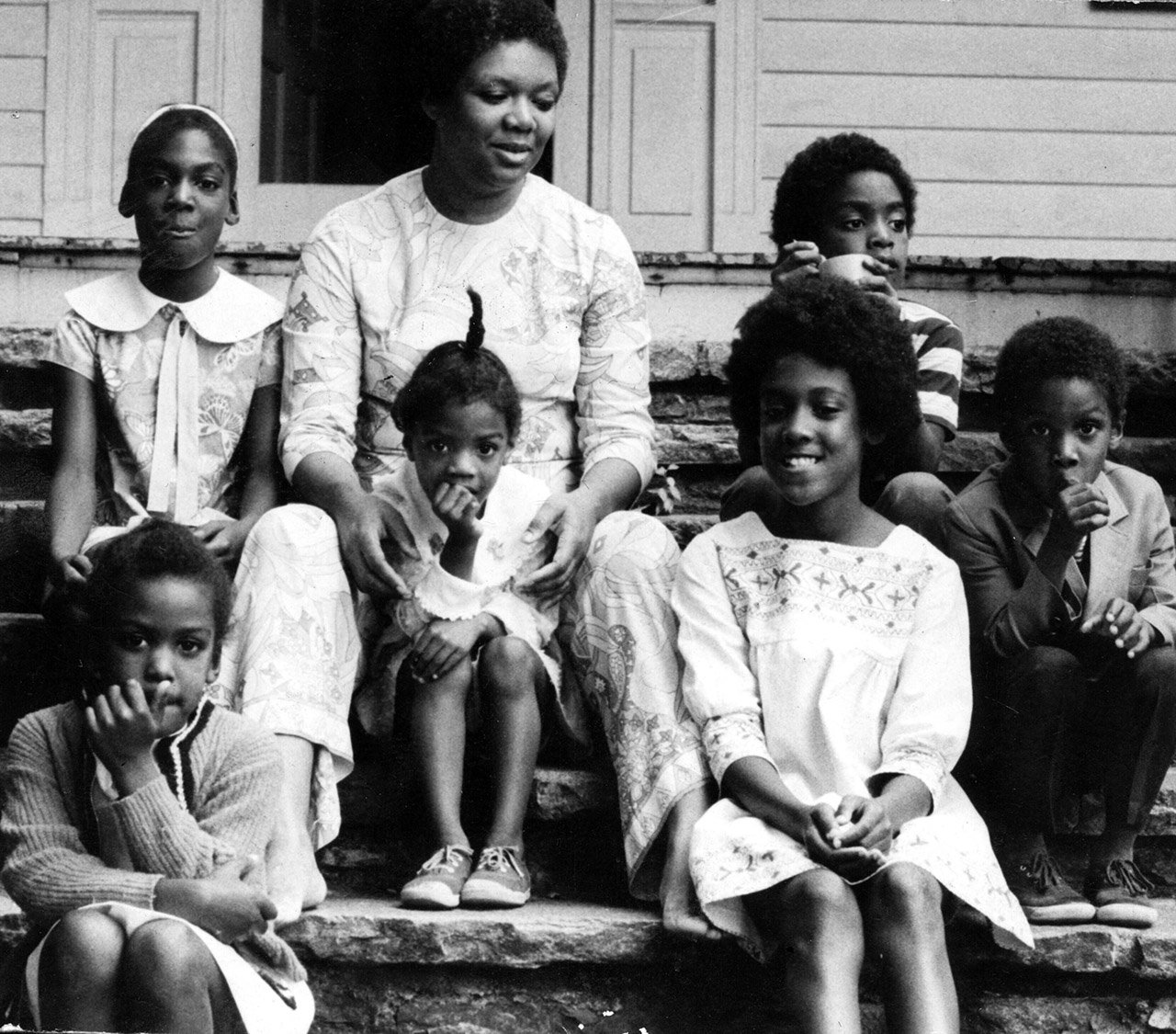 Lucille Clifton and her children at their home in Baltimore, 1971.