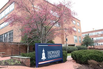 "HBCU campus with sign ""Howard University"""