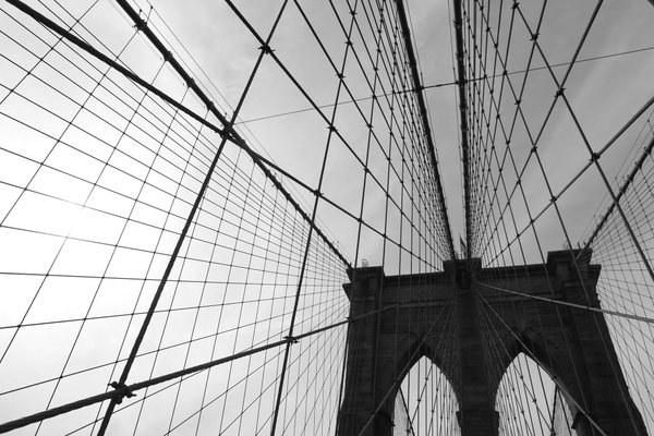 Photograph of the Brooklyn Bridge's cables and tower