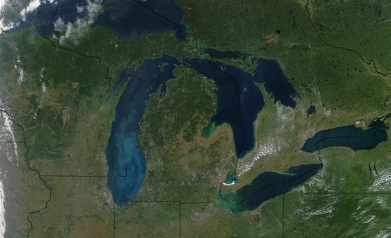 satelite view of the Great Lakes region