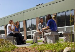 College students sitting outside