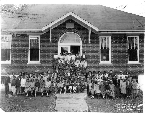 black-and-white photo of a rural schoolhouse