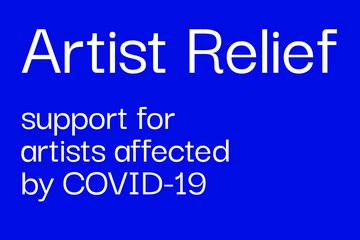 text: Artist Relief, support for artists affected by COVID-19