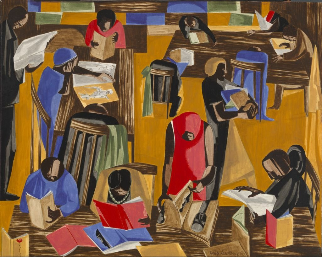 painting with group of African Americans seated reading in library reading room