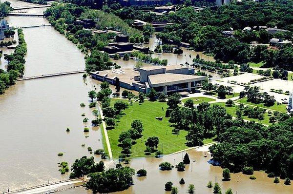 Aerial view of a flooded university campus
